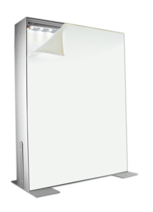 #200: Optional LED-lit or Non-lit 2-sided 200x24mm Ceiling, or Floor Mount aluminum SEG Frame