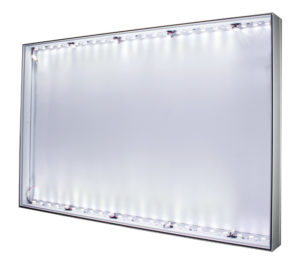 #90: LED-lit 1-sided 90x49mm Wall, Ceiling, or Floor Mount aluminum SEG Frame