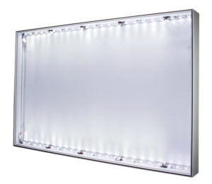 #91: LED-lit 1-sided 90x49mm Wall, Ceiling, or Floor Mount aluminum SEG Frame